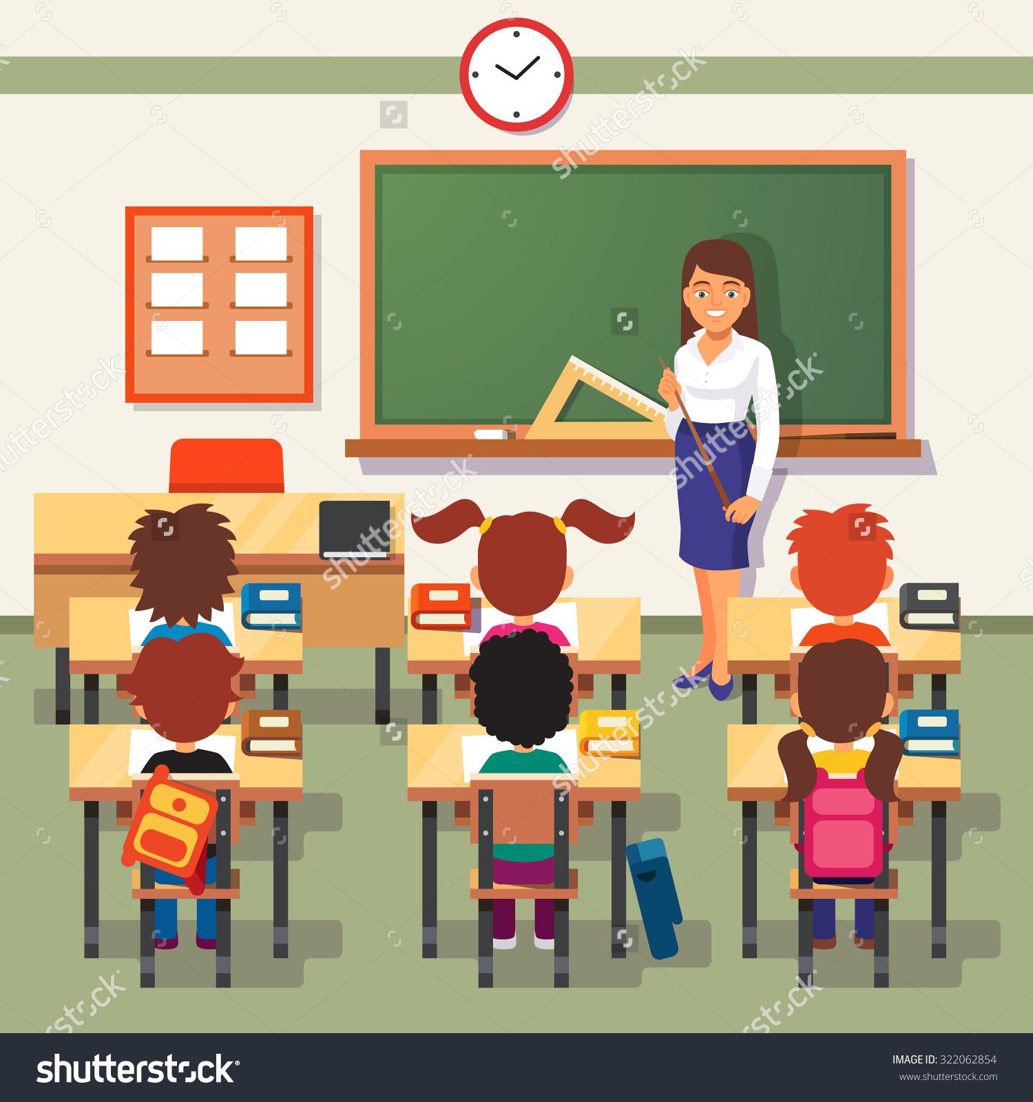 Teacher Teaching In Classroom Clipart.