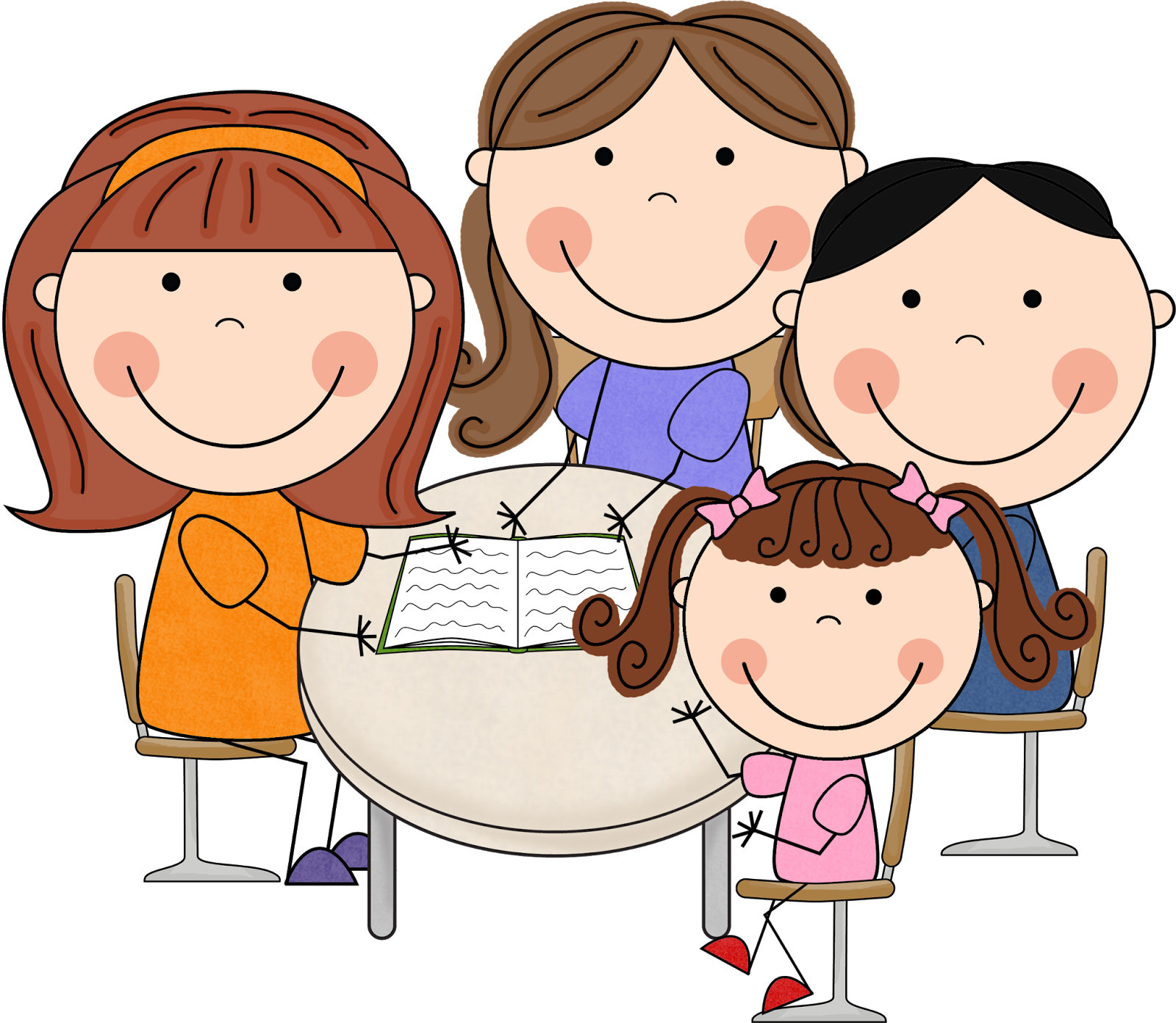 Kids At A Table With Teacher Clipart.