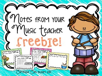 Notes from your Music Teacher FREEBIE.