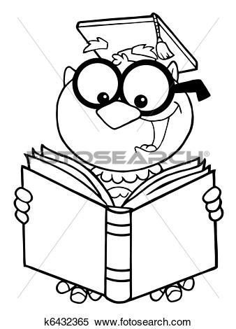 Clipart of Outlined Owl Teacher Reading A Book k6432365.