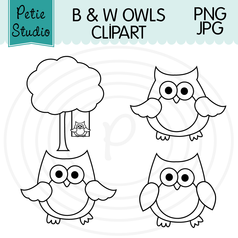 Free Owl Clipart Black and White Outlines.