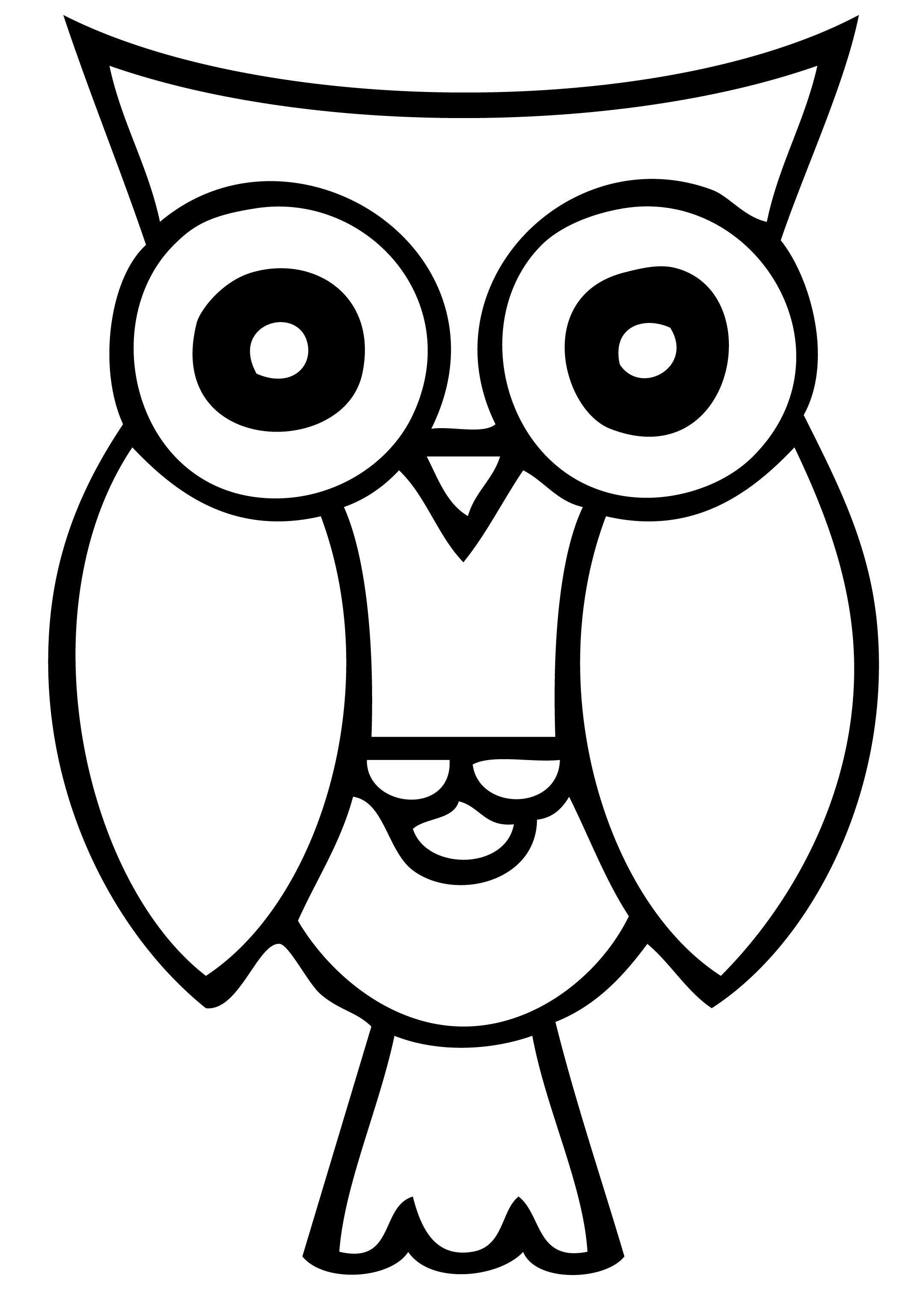 Free Owl Clipart Black and White Image.