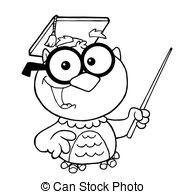Vectors of Black And White Wise Owl Teacher Cartoon Mascot.