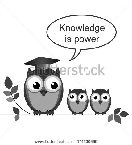Owl Teacher Knowledge Power Message Isolated Stock Illustration.