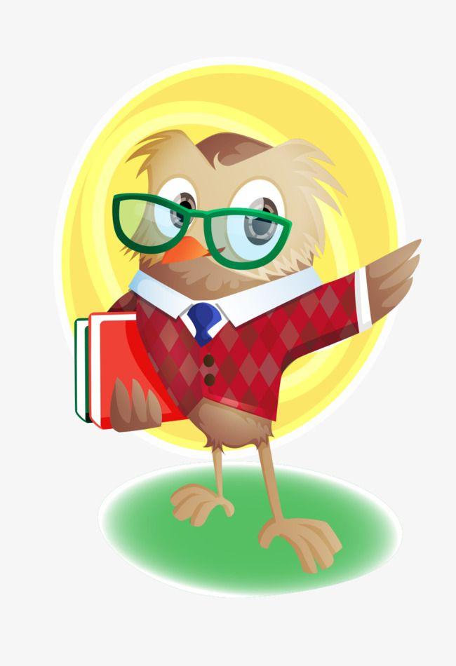Cute Cartoon Owl Teacher Took The Book With Glasses.
