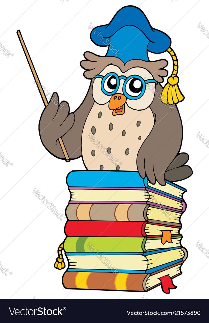 Wise owl teacher on books.