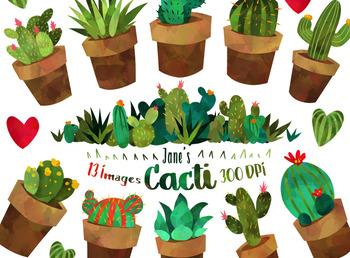 Watercolor Cacti Clipart.