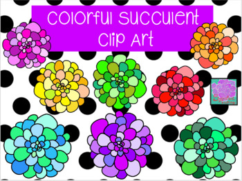 Colorful Succulent Clip Art.