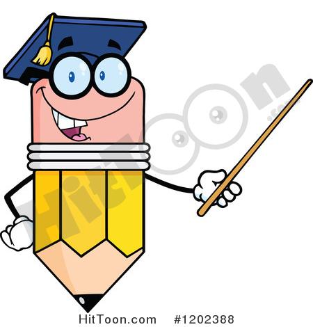 Pencil Clipart #1202388: Graduate Pencil Teacher Holding a Pointer.
