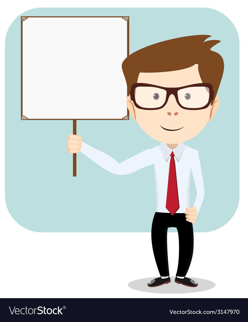 Cartoon teacher explaining and pointing at blank.
