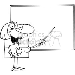 Teacher using A baton Pointing to the Board clipart. Royalty.