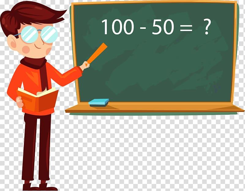 Man pointing math problem on board , Student Teachers Day.