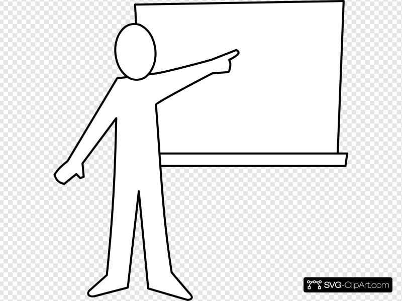 Teacher Pointing At Board Outline Clip art, Icon and SVG.