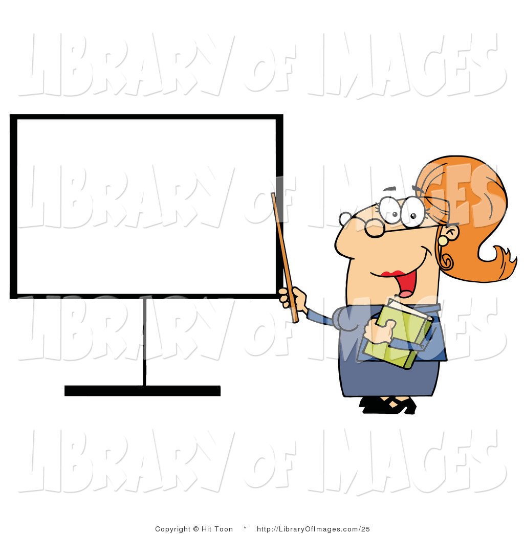 Clip Art of a Happy Female Teacher Pointing to a Blank Board.