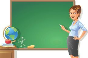 Female Teacher at Blackboard.