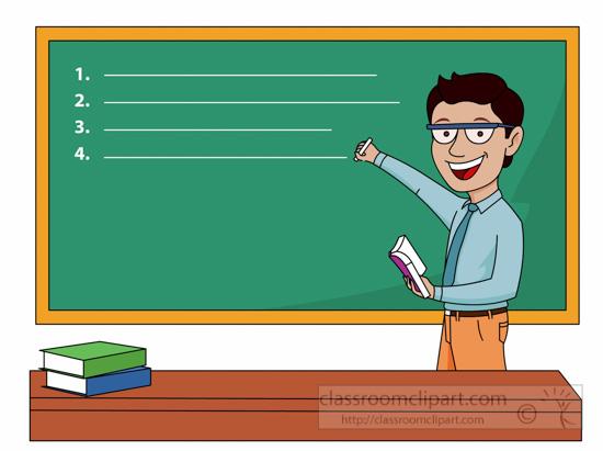 Teacher With Chalkboard Clipart.