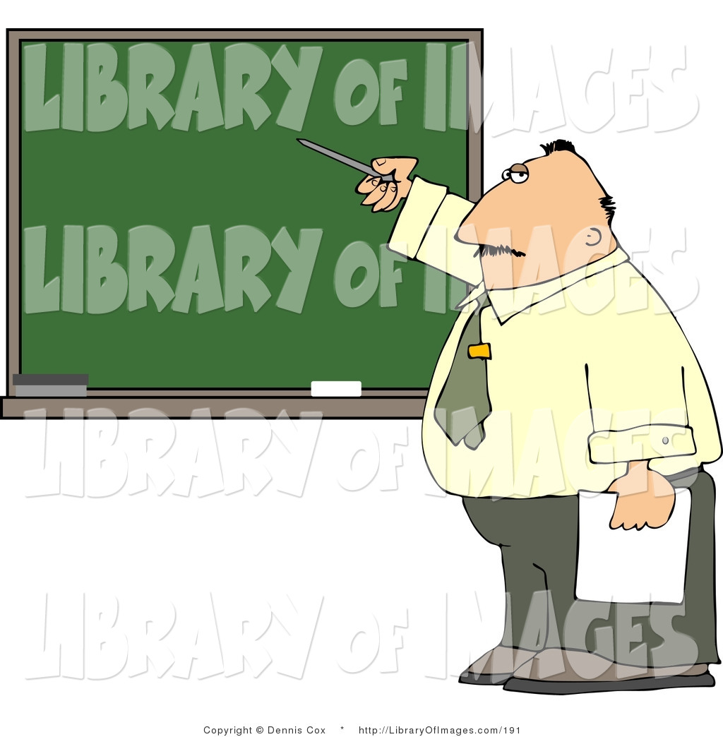 Clip Art of a Male School Teacher Pointing at a Blank.