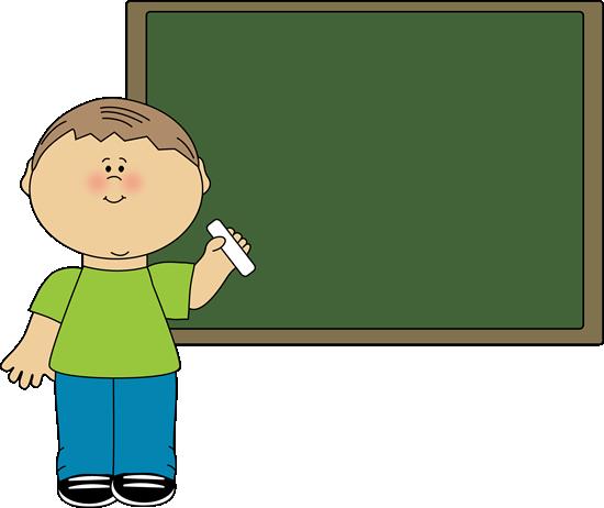 Boy Pointing to Chalkboard Clip Art.