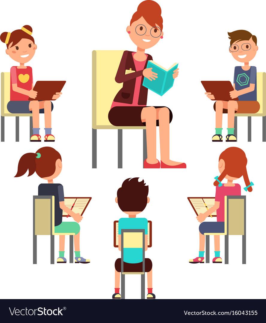 Teacher reading book to children that sitting.