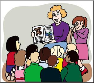 Clip Art: Teacher Reading to Class Color I abcteach.com.