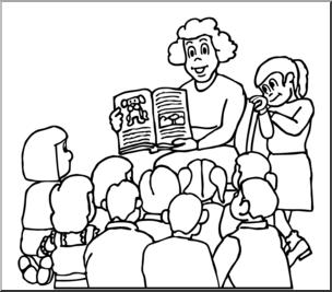 Clip Art: Teacher Reading to Class B&W I abcteach.com.