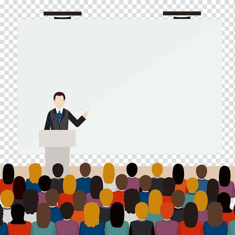 Teacher and students illustration, Euclidean Public speaking.