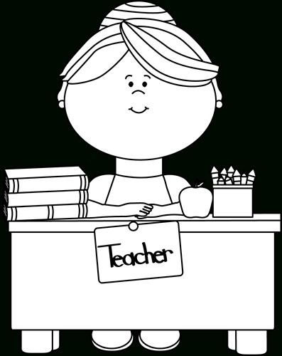 Black And White Teacher Sitting At A Desk Clip Art.