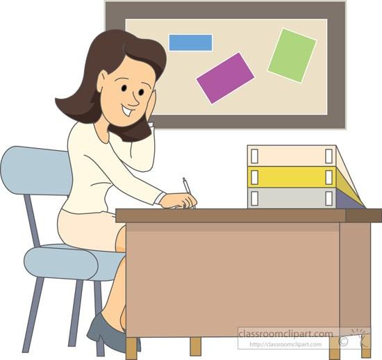 Teacher sitting at desk grading papers » Clipart Portal.
