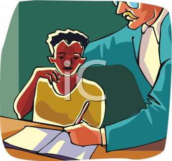 Clipart Picture of a Teacher Helping a Student.