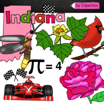 Indiana state symbols clipart.