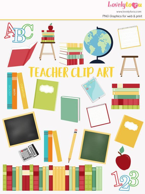 Teacher clip art set, school education, teaching clipart.