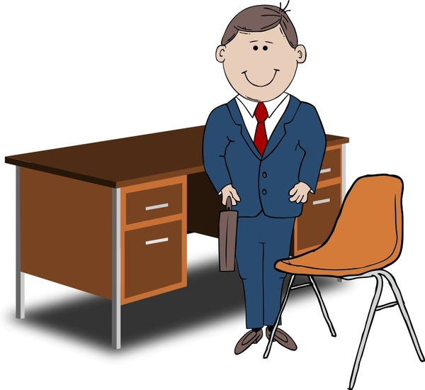 Teacher / Manager between chair and desk Free vector in Open.
