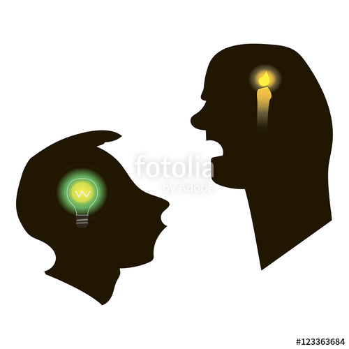 Black silhouettes of two men talking. White background. Teacher.