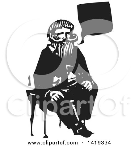 Clipart Black And White Woodcut Styled Teacher Gesturing Around A.