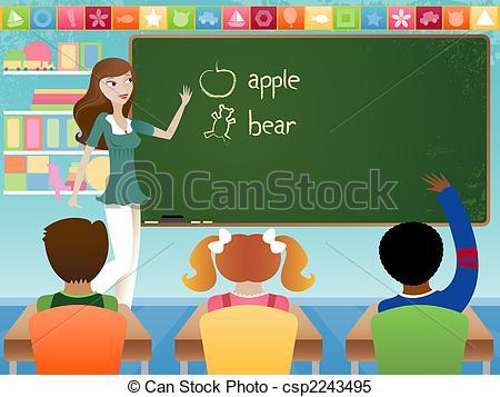 A Teacher Teaching A Class Clipart.