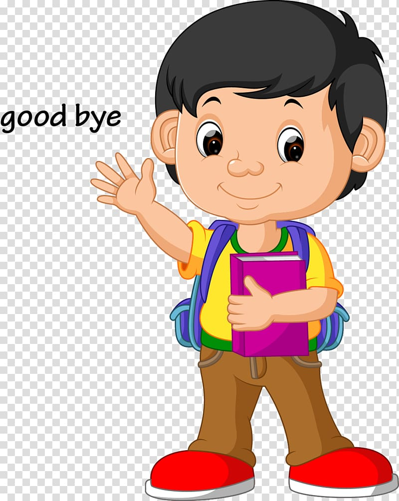 Illustration School , kids wave goodbye, boy animated.