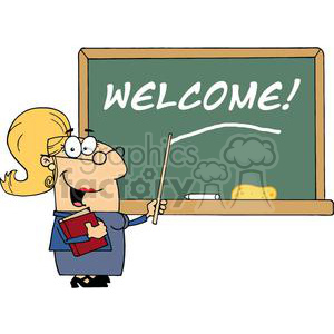 A woman School Teacher In A Dark Blue Dress With A Pointer Displayed On  Chalk Board Welcome! clipart. Royalty.