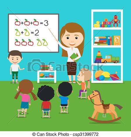 Vectors Illustration of Teacher teaching kids in kindergarten.