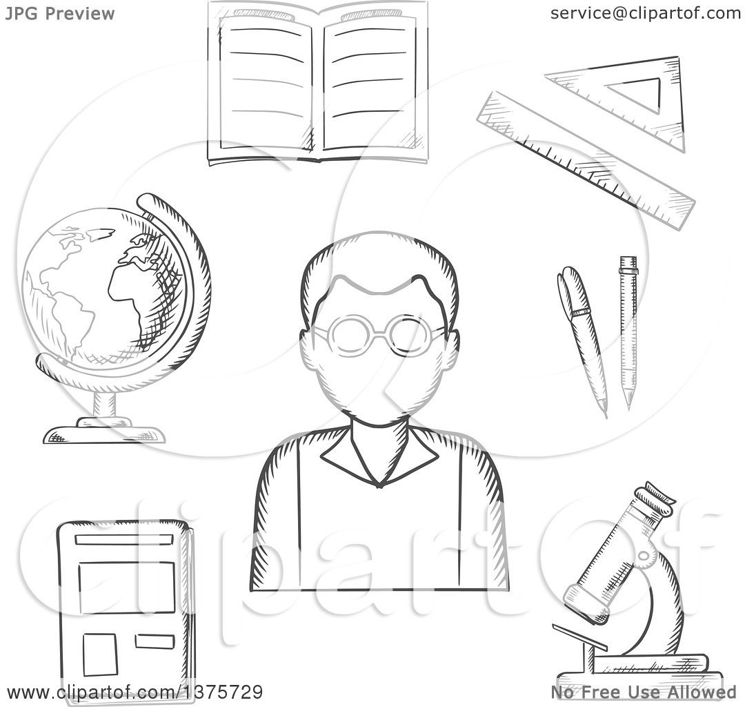 Clipart of a Grayscale Sketched Teacher Surrounded by a Notebook.