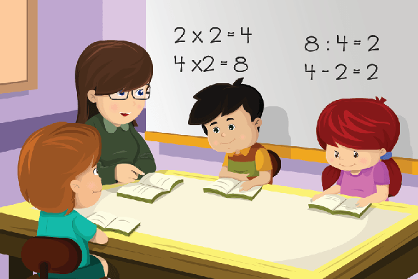 Teacher Working With Students Clipart.