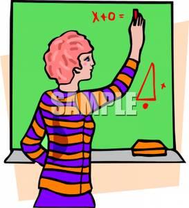 Clip Art Image: A Teacher Writing Math on the Board.