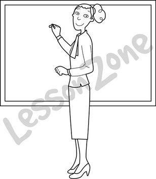 Woman teacher writing on a white board B&W.