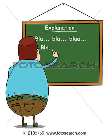 Clip Art of fat teacher writing on board k12135756.
