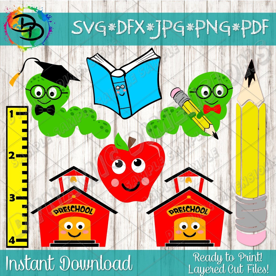 Back To School Clipart. School Clip Art, Teacher svg, Student, Little Book  Worm Clipart, Graduation, Teachers, Apple svg, Commercial svg.