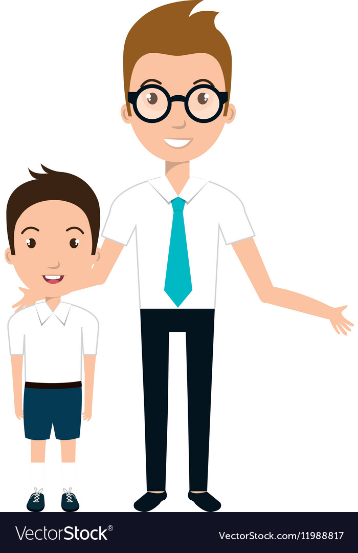 Boy student character with teacher isolated icon.