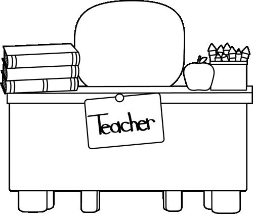 Back and White Teacher\'s Desk Clip Art.