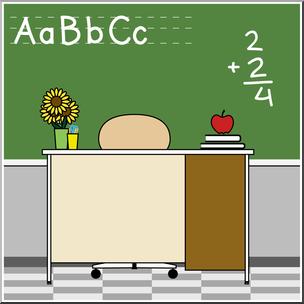 Clip Art: Teacher\'s Desk Color I abcteach.com.