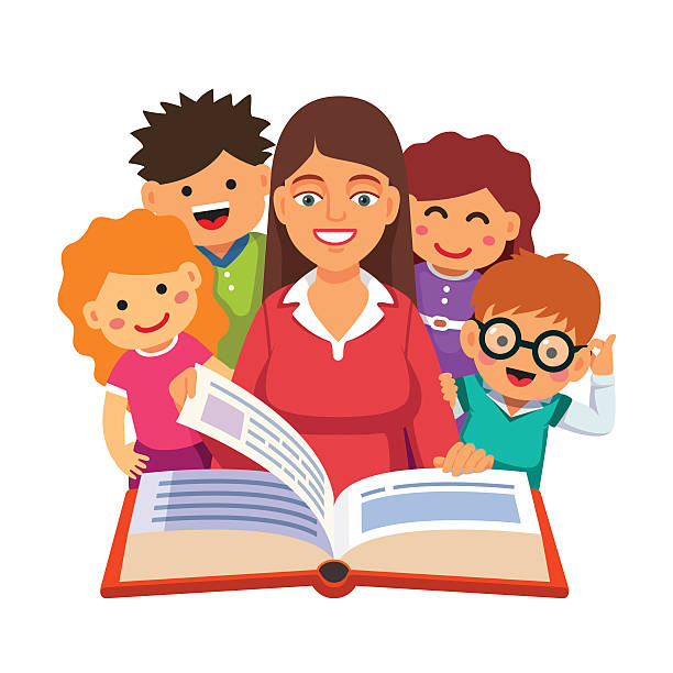 Teacher Reading With Students Clipart.