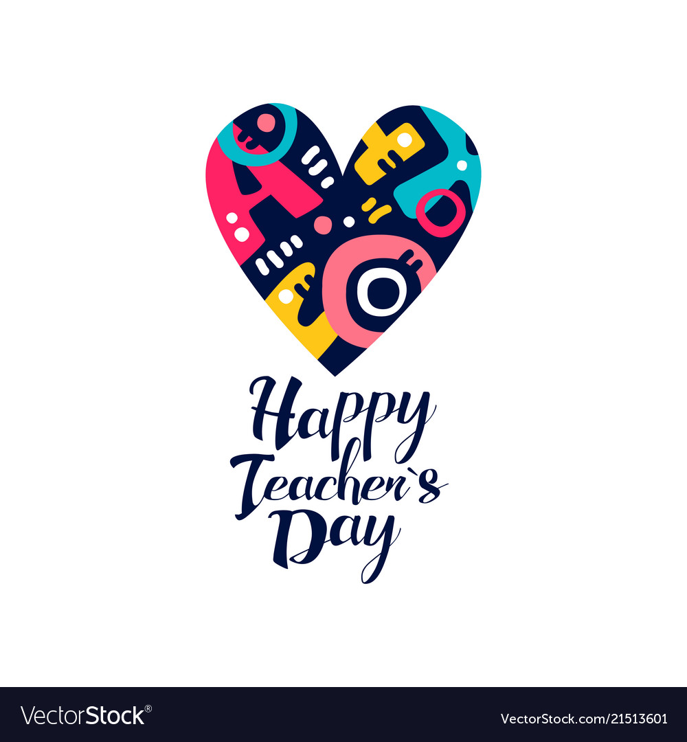 Happy teachers day logo creative template for.