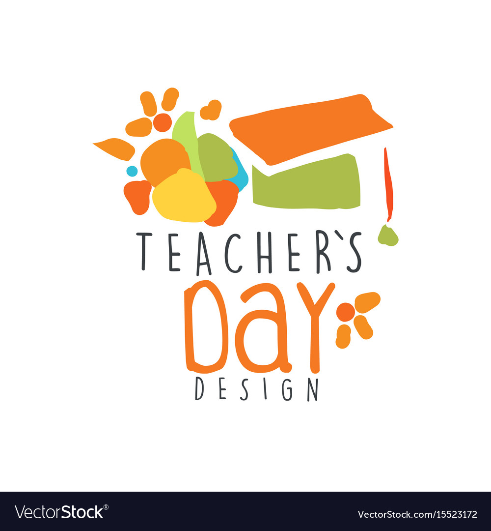 Teachers day label design back to school logo.